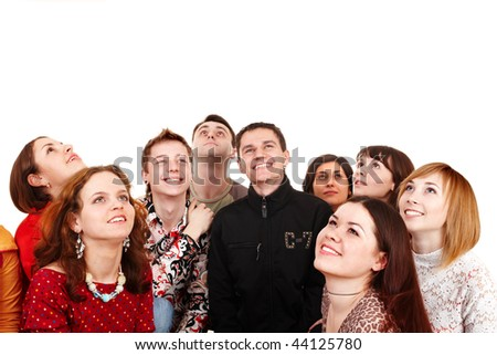 Big group of people looking up. Isolated. - stock photo