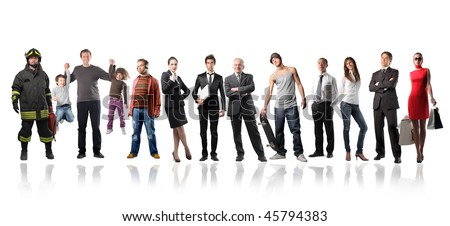 Big group of people of different ages and social position - stock photo