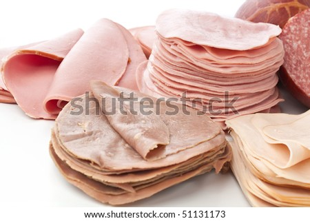 big group of thinly sliced  meat on white background - stock photo