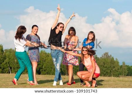 Big group of young girls having fun - stock photo