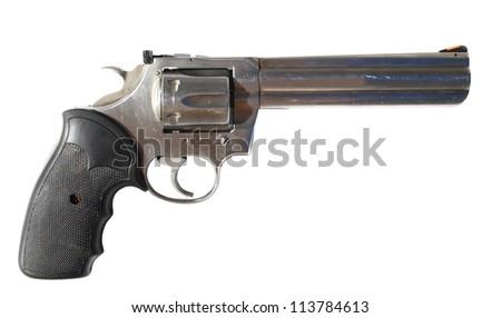 Big gun isolated on white - stock photo