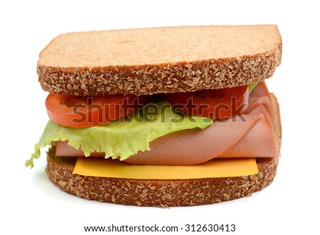 big ham sandwich with vegetables on white background - stock photo