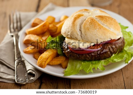 Big hamburger with onions, tomatoes and french fries - stock photo