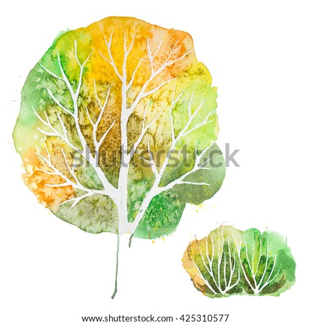 Big hand drawn watercolor green orange autumn tree and shrub, isolated on the white background - stock photo