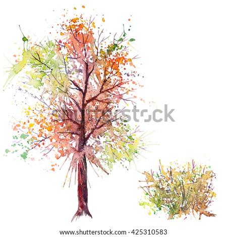 Big hand drawn watercolor splash green orange autumn tree and shrub, isolated on the white background - stock photo