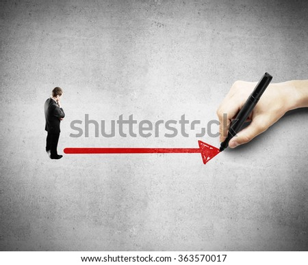 big hand helps in the selection of a businessman - stock photo