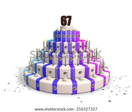 Big happy birthday cake with candles and on top a chocolate number 67 - stock photo