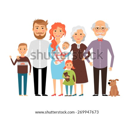 Big happy family. Father mother son daughter grandfather grandmother - stock photo
