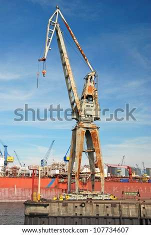 big harbour crane corroding - stock photo