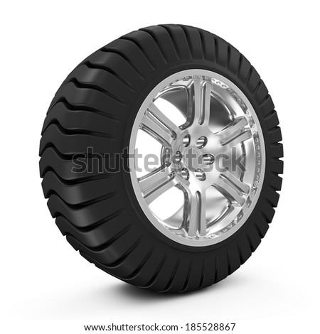 Big Heavy Wheel isolated on white background - stock photo