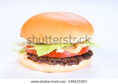 Big homemade hamburger - stock photo