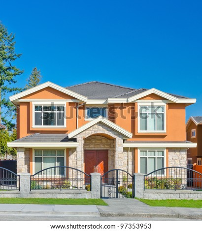 Big house in a residential neighborhood.  Vancouver, Canada - stock photo