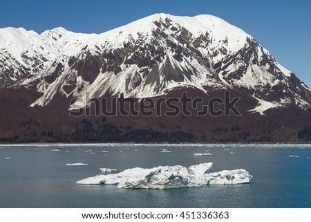 Big Iceberg Floating Close  to Hubbard Glacier in Alaska. - stock photo