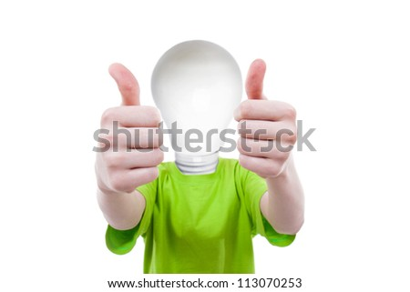 Big idea - boy with bulbhead - stock photo
