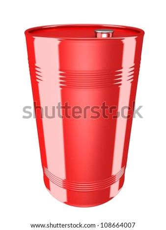 Big iron empty red a barrel close up over white background - stock photo