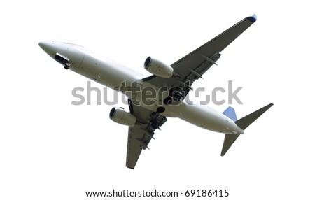 Big jet plane isolated on white background - stock photo