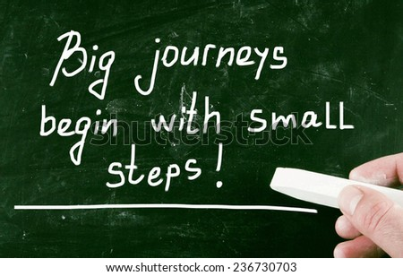 big journeys begin with small steps! - stock photo