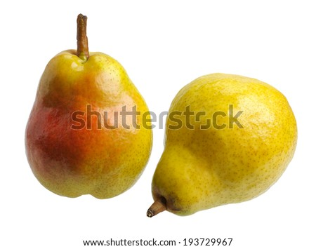 Big juicy yellow red pears, isolated  - stock photo