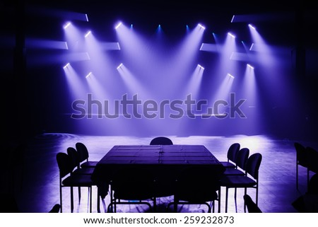 Big Light Setup Ready for a Big Private Show - stock photo