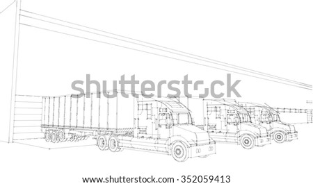 Big lorry delivery truck. X-ray.Near about garage storage, warehouses Isolated sketch 3d render on wight  background - stock photo