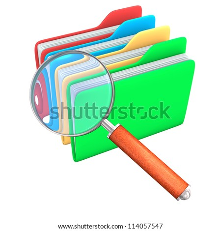 Big loupe with 4 folders. White background. - stock photo