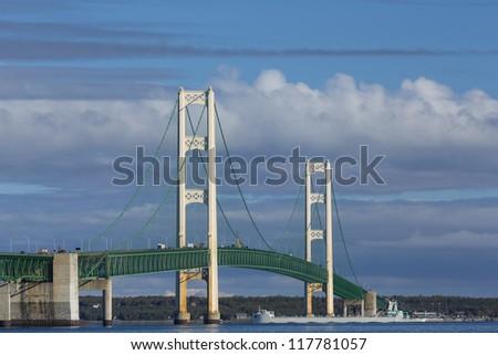 Big Mackinac Bridge and Ship - stock photo