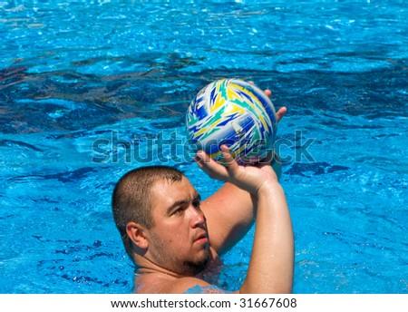 Big man in the pool - stock photo