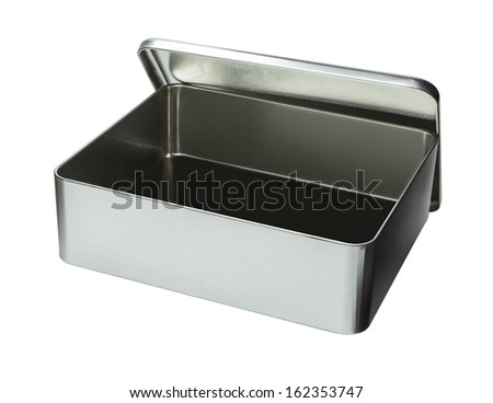 Big Metal box isolated on a white background - Open - stock photo