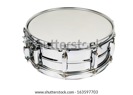 Big metal snare drum isolated on white - stock photo