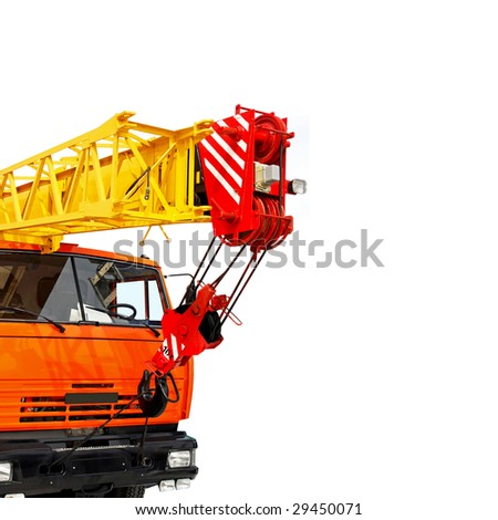 Big mobile truck crane isolated on white - stock photo