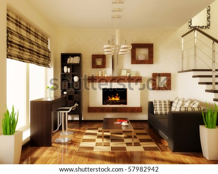 big modern interior room with wooden stairs - stock photo