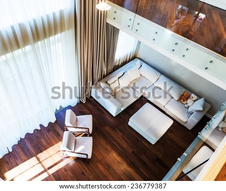 Big modern living room , top view. - stock photo