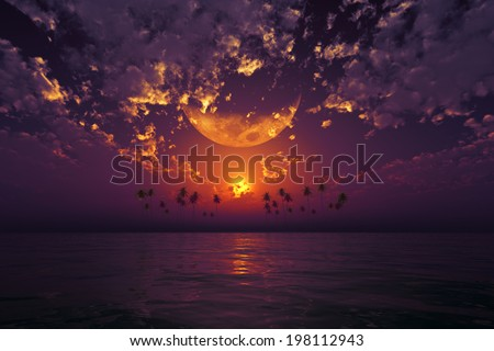 big moon in clouds over purple sunset at tropical sea. Elements of this image furnished by NASA - stock photo