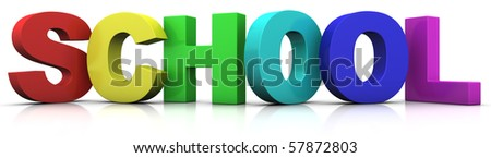 big multicolored 3d letters forming the word SCHOOL - 3d rendering/illustration - stock photo