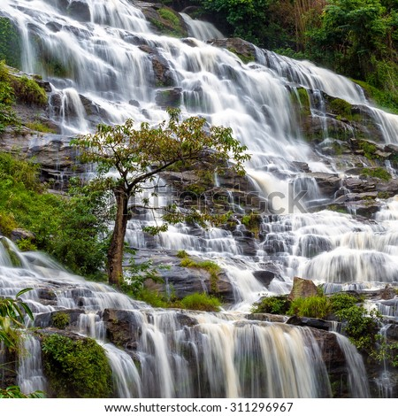 Big natural water fall from a mountain in Chiang Mai ,Thailand. - stock photo