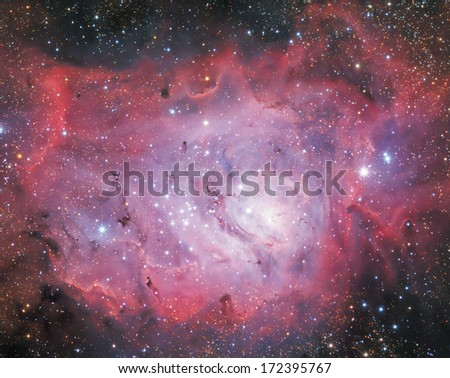 Big nebula in constellation of the Archer. - stock photo