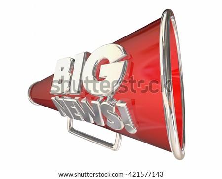 Big News Announcement Information Bullhorn Megaphone 3d Animation - stock photo