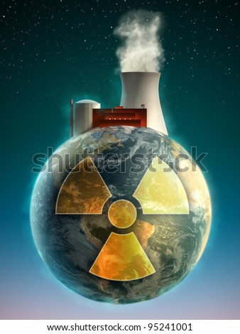 Big nuclear power plant on top of the Earth. Digital illustration. - stock photo