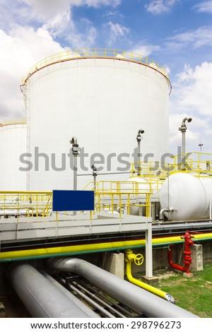 Big oil tank farm in refinery industry - stock photo