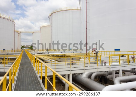 Big oil tank farm in refinery industry - stock photo