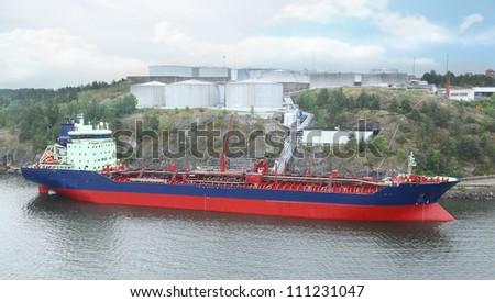Big oil tanker refueling - stock photo