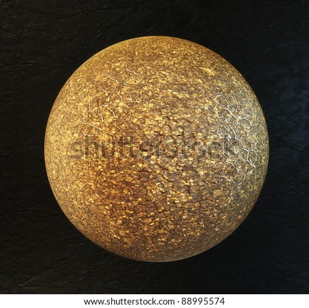big old planet isolated on a black background. - stock photo