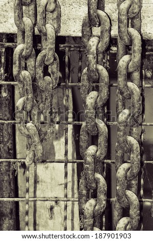 Big Old Rusty Chain - stock photo