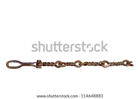 Big old rusty curved chain isolated on white background - stock photo