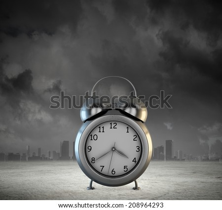 Big old-style clock against city modern background - stock photo