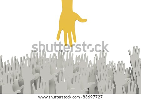 Big orange hand reaching for small ones with clipping path - stock photo