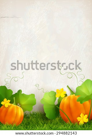 Big orange pumpkin, leaves, grass against the background of a plaster wall. Thanksgiving card. - stock photo