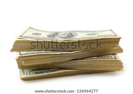 big pack of a dollars isolated on a white - stock photo