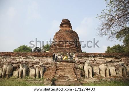 Big Pagoda at Wat Maheyong, Ancient temple and monument in Ayutthaya province, Thailand - stock photo