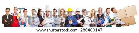 Big panorama group of people from many trades and professions and occupations - stock photo